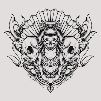 Disegno del tatuaggio e della maglietta geisha e ornamento dell'incisione del cranio