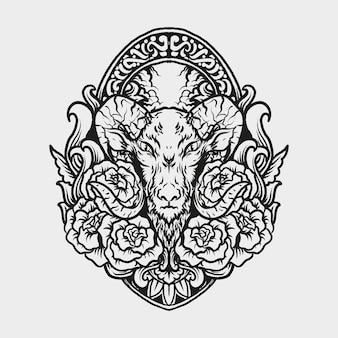 Tatuaggio e t-shirt design capra e ornamento incisione rosae