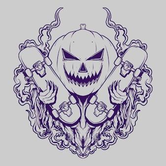 Tatuaggio e t-shirt design zucca di halloween e maschera da skateboard incisione ornamento