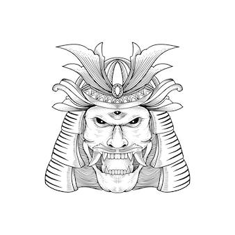 Disegno del tatuaggio e della maglietta disegnato a mano dalla cultura giapponese - samurai, shogun