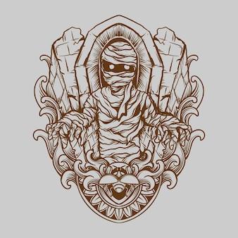 Tatuaggio e t-shirt design illustrazione disegnata a mano mummia incisione ornamento