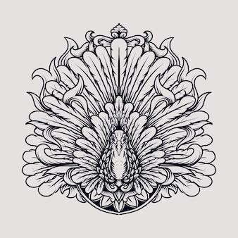 Ornamento dell'incisione del pavone di disegno del tatuaggio e della maglietta