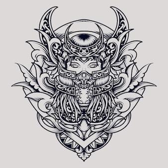 Disegno del tatuaggio e della maglietta regina dell'ornamento dell'incisione della luna