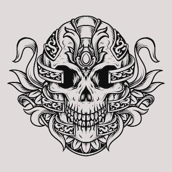 Ornamento di incisione del cranio di disegno del tatuaggio e della maglietta