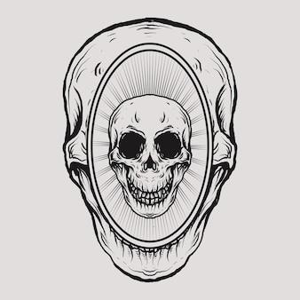 Disegno del tatuaggio e t-shirt teschio nel cranio