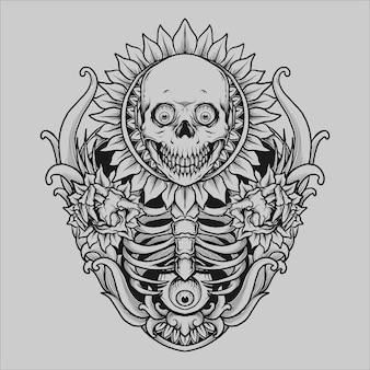 Tatuaggio e t-shirt design teschio sole fiore incisione ornamento