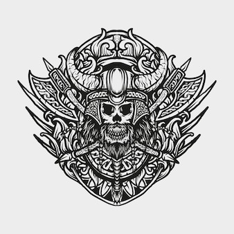 Tatuaggio e t-shirt design ornamento incisione teschio vichingo