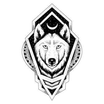 Disegno del tatuaggio e della maglietta lupo e mandala ornamento