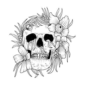 Tatuaggio e t-shirt teschio e fiori linea arte