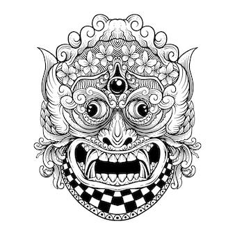 Tatuaggio e tshirt design in bianco e nero disegnato a mano rangda barong bali premium vector