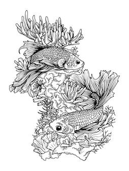 Disegno di tatuaggi e magliette in bianco e nero disegnato a mano un paio di pesci su una barriera corallina premium