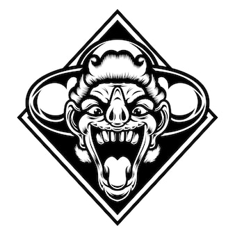 Tatuaggio e tshirt design in bianco e nero faccia teschio