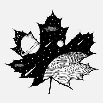 Tatuaggi e t-shirt design universo spaziale in bianco e nero in foglia d'acero premium