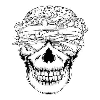 Disegno tatuaggio e maglietta burger teschio disegnato a mano in bianco e nero
