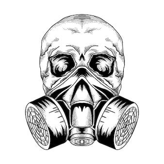 Disegno di tatuaggio e tsirt maschera antigas teschio