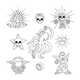 Elementi di vettore del tatuaggio. tatuaggi lineari con teschio e fiori, cuore, passero o rondine