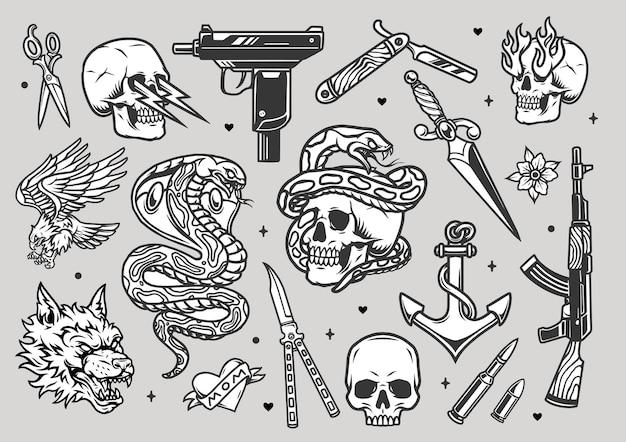 Tatuaggi vintage collezione monocromatica con armi coltelli rasoio pugnale proiettili lupo arrabbiato testa serpente aquila cuore ancora teschi con fulmini e fiamme dalle orbite