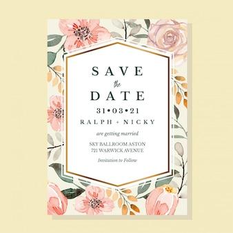Modello di invito floreale dell'acquerello floreale vintage pastello tortora