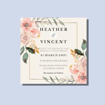 Modello di invito floreale dell'acquerello classico vintage taupe