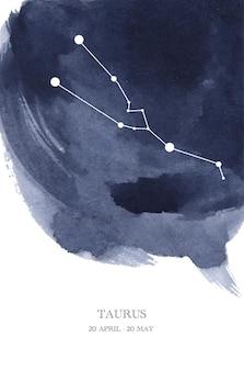 Illustrazione dell'acquerello di astrologia della costellazione del toro. simbolo dell'oroscopo del toro fatto di scintillii e linee di stelle.