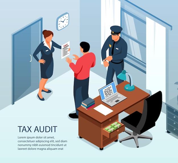 La verifica fiscale sulla composizione isometrica di ispezione in loco con le autorità che esaminano i registri contabili dell'amministrazione aziendale restituisce l'illustrazione di vettore