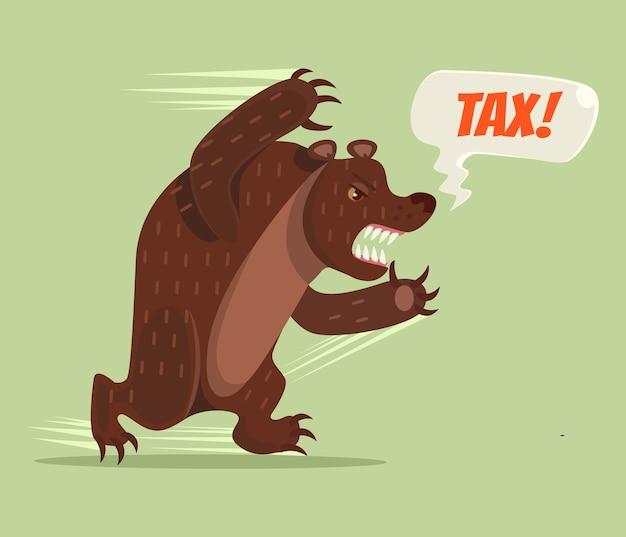 Carattere dell'orso fiscale eseguito. illustrazione di cartone animato piatto