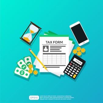 Concetto di calcolo delle imposte per il servizio e la gestione delle tasse sulla scrivania.