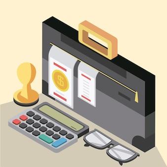 Calcolatrice fiscale valigetta forma bicchieri