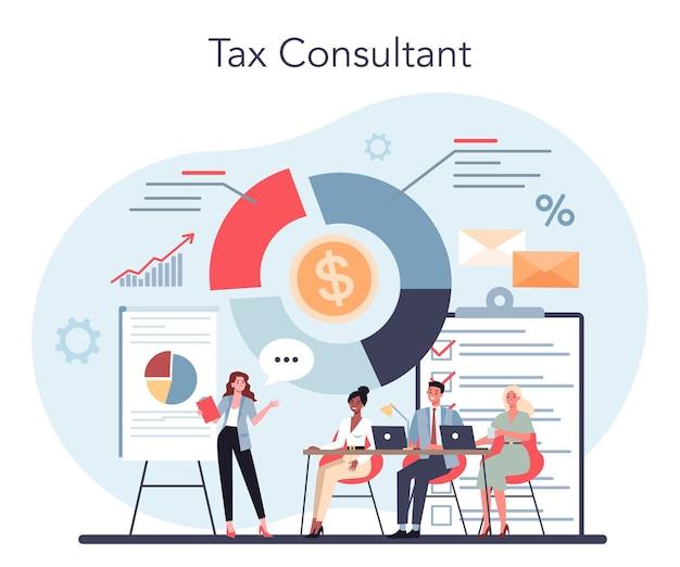 Concetto di consulente fiscale. idea di contabilità e pagamento.