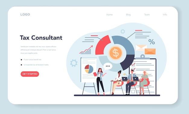 Banner web o pagina di destinazione del consulente fiscale