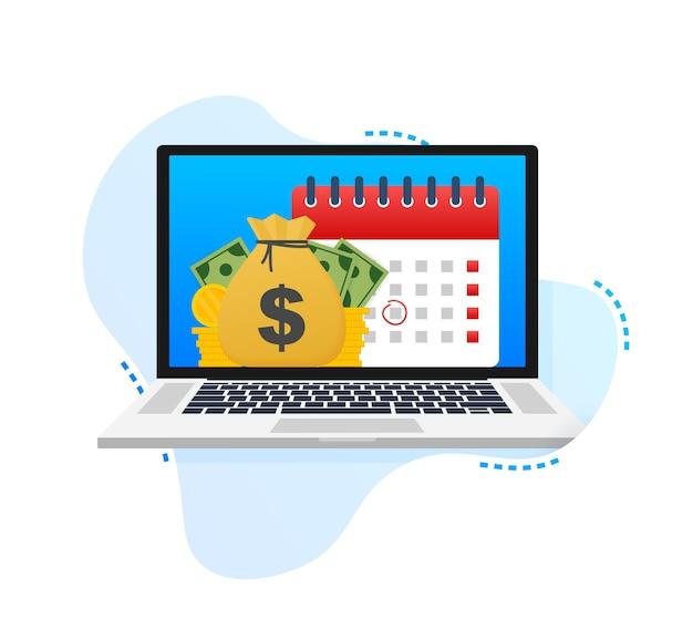 Giorno fiscale. concetto di data di pagamento o prestito di giorno di paga come un calendario con denaro. illustrazione vettoriale.