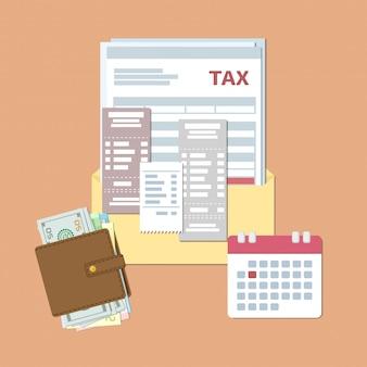 Progettazione del giorno fiscale. pagamento tasse e fatture. busta aperta con tasse, assegni, bollette, borsa con soldi, calendario con data rossa. illustrazione piatta.