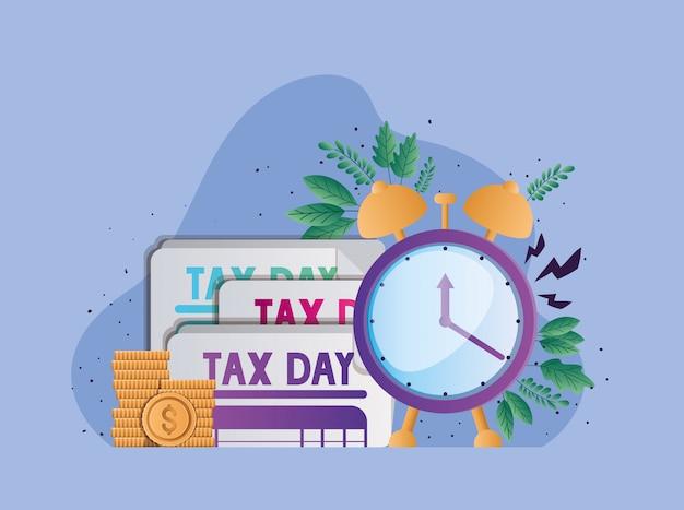 Progettazione di vettore delle monete e delle foglie dell'orologio dei documenti di giorno di imposta