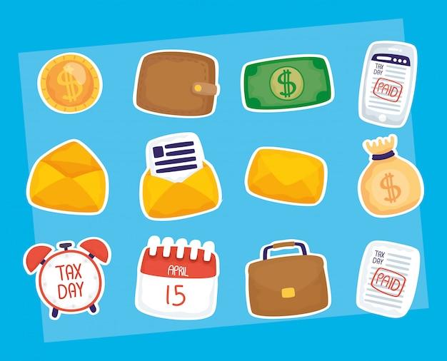 Insieme di composizioni dell'illustrazione di giorno di imposta