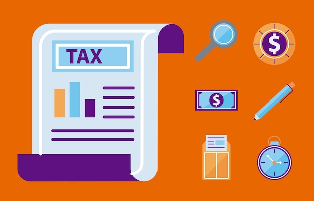 Documento fiscale con set di simboli