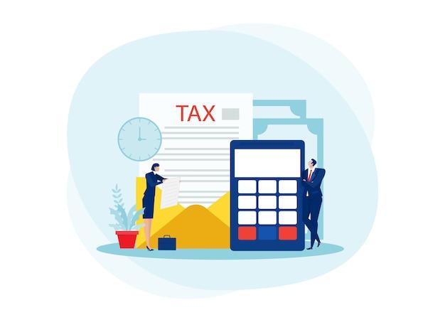 Analisi finanziaria fiscale, uomini d'affari che calcolano il documento per le tasse piatto