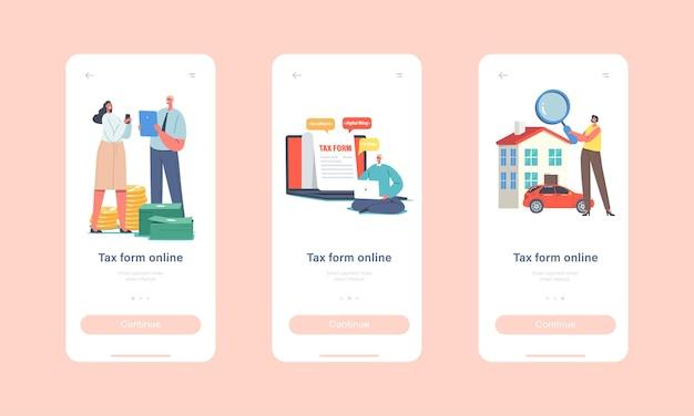 Modello di schermata di bordo della pagina dell'app mobile online del modulo fiscale. piccoli personaggi riempiono un'enorme applicazione, sistema di tassazione