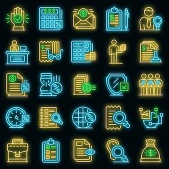Set di icone di ispettore fiscale. delineare l'insieme delle icone vettoriali dell'ispettore fiscale colore neon su nero