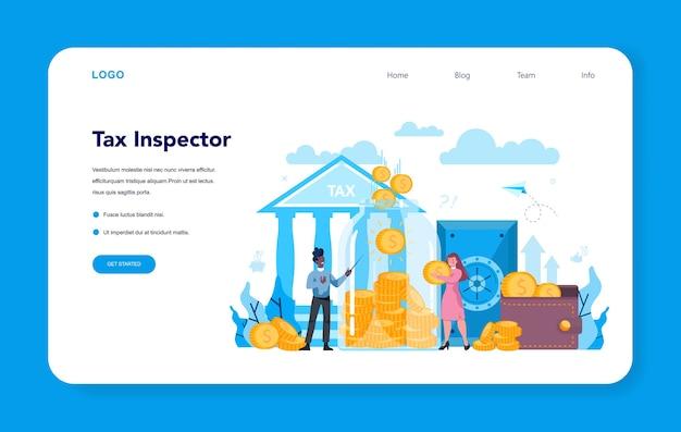 Banner web o pagina di destinazione dell'ispettore fiscale. idea di contabilità