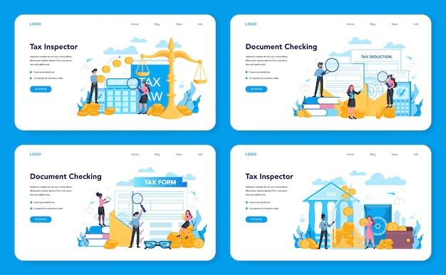 Banner web ispettore fiscale o set di pagine di destinazione