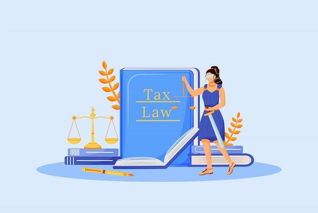 Illustrazione piana di concetto di legge fiscale. themis personaggio dei cartoni animati 2d per il web design. educazione economica, alfabetizzazione finanziaria. apprendimento della politica fiscale, idea creativa di obbligo legale