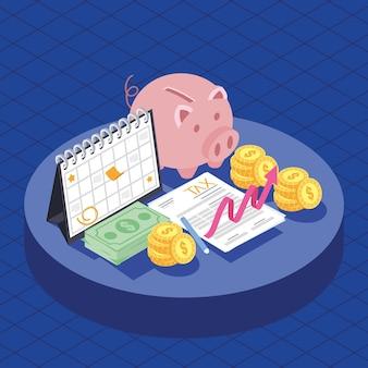 Icone di tasse e denaro