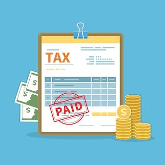 Concetto di tasse pagate. governo, tasse statali. calcolo finanziario, debito. modulo fiscale, contanti, monete d'oro, timbro. icona di giorno di paga.