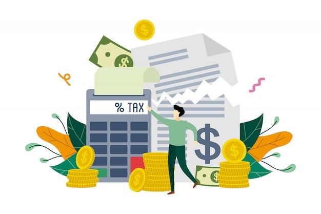 Pagamento delle imposte, dichiarazione dei redditi di calcolo, modello piatto illustrazione detrazione fiscale