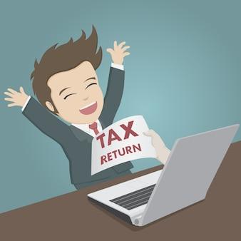 Concetto di dichiarazione dei redditi. l'uomo d'affari ha ricevuto la dichiarazione dei redditi online.