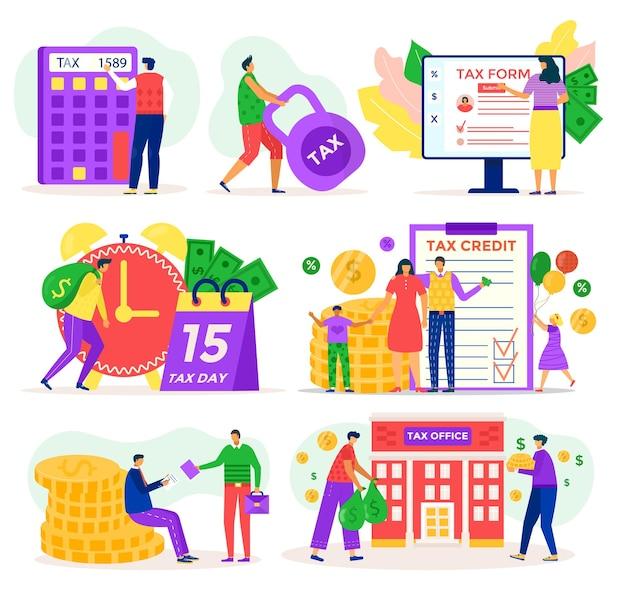 Set di illustrazioni di servizio fiscale