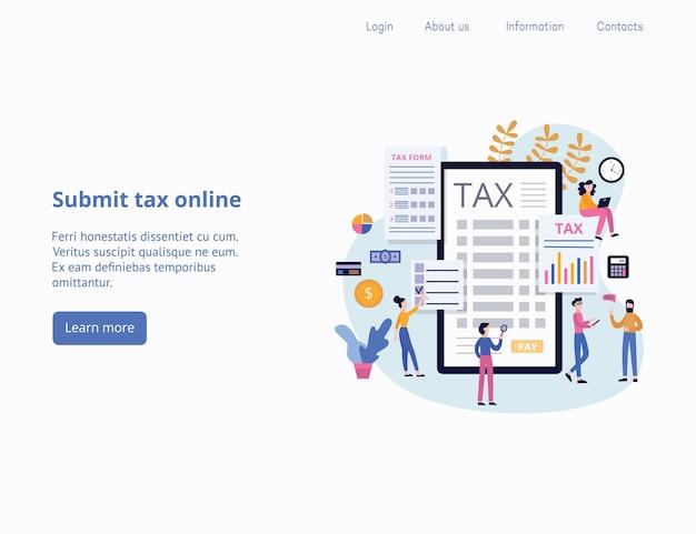 Inviare le tasse o pagare le tasse online e segnalare il modello di intestazione della pagina di destinazione con personaggi dei cartoni animati di persone, illustrazione sfondo di app di servizi finanziari.