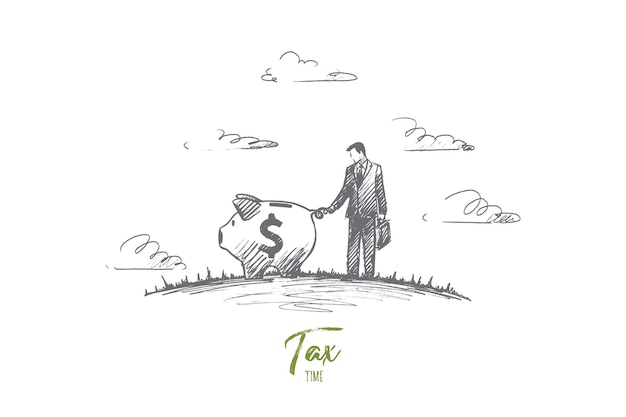 Concetto di tempo fiscale. disegnato a mano l'uomo che deve pagare la tassa. uomo d'affari e illustrazione isolata salvadanaio.