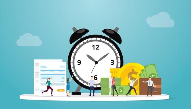 Concetto di scadenza del tempo fiscale con modulo di documento di persone e tasse con illustrazione vettoriale di stile piatto moderno