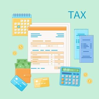 Concetto di tassazione. pagamento dell'imposta del governo statale, calcolo, ritorno. modulo fiscale vuoto non compilato, calendario finanziario, assegni, calcolatrice, carte di credito, denaro, portafoglio. icona di giorno di paga.